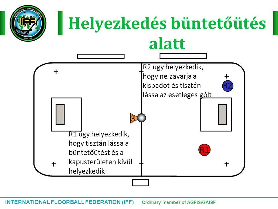 INTERNATIONAL FLOORBALL FEDERATION (IFF) Ordinary member of AGFIS/GAISF Helyezkedés büntetőütés alatt R1 R2 R2 úgy helyezkedik, hogy ne zavarja a kisp