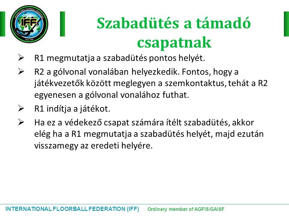 INTERNATIONAL FLOORBALL FEDERATION (IFF) Ordinary member of AGFIS/GAISF Szabadütés a támadó csapatnak  R1 megmutatja a szabadütés pontos helyét.  R2