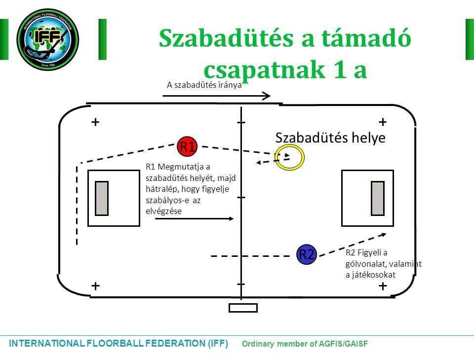INTERNATIONAL FLOORBALL FEDERATION (IFF) Ordinary member of AGFIS/GAISF Szabadütés a támadó csapatnak 1 a R2 R1 R1 Megmutatja a szabadütés helyét, maj
