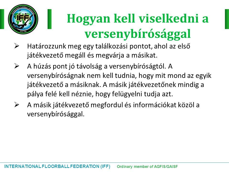 INTERNATIONAL FLOORBALL FEDERATION (IFF) Ordinary member of AGFIS/GAISF Hogyan kell viselkedni a versenybírósággal  Határozzunk meg egy találkozási p