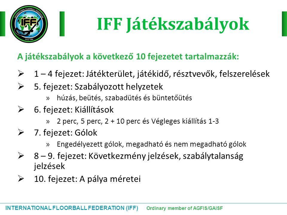 INTERNATIONAL FLOORBALL FEDERATION (IFF) Ordinary member of AGFIS/GAISF IFF Játékszabályok A játékszabályok a következő 10 fejezetet tartalmazzák:  1