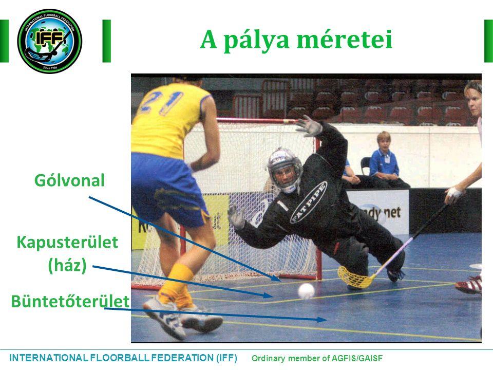 INTERNATIONAL FLOORBALL FEDERATION (IFF) Ordinary member of AGFIS/GAISF A pálya méretei Büntetőterület Kapusterület (ház) Gólvonal