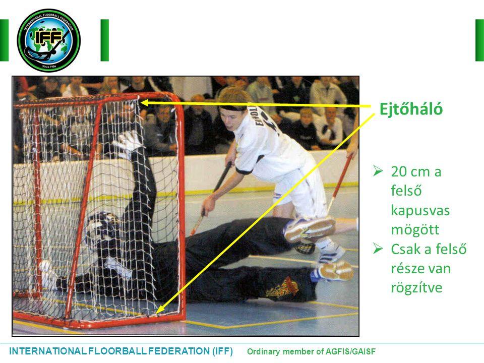 INTERNATIONAL FLOORBALL FEDERATION (IFF) Ordinary member of AGFIS/GAISF Ejtőháló  20 cm a felső kapusvas mögött  Csak a felső része van rögzítve