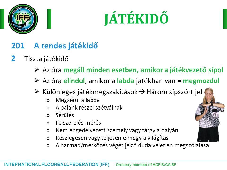 INTERNATIONAL FLOORBALL FEDERATION (IFF) Ordinary member of AGFIS/GAISF JÁTÉKIDŐ 201A rendes játékidő 2 Tiszta játékidő  Az óra megáll minden esetben