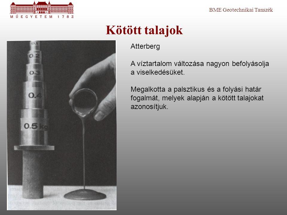 BME Geotechnikai Tanszék Kötött talajok Atterberg A víztartalom változása nagyon befolyásolja a viselkedésüket. Megalkotta a palsztikus és a folyási h