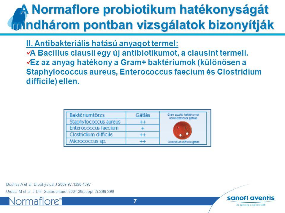 7 A Normaflore probiotikum hatékonyságát mindhárom pontban vizsgálatok bizonyítják A Normaflore probiotikum hatékonyságát mindhárom pontban vizsgálatok bizonyítják II.