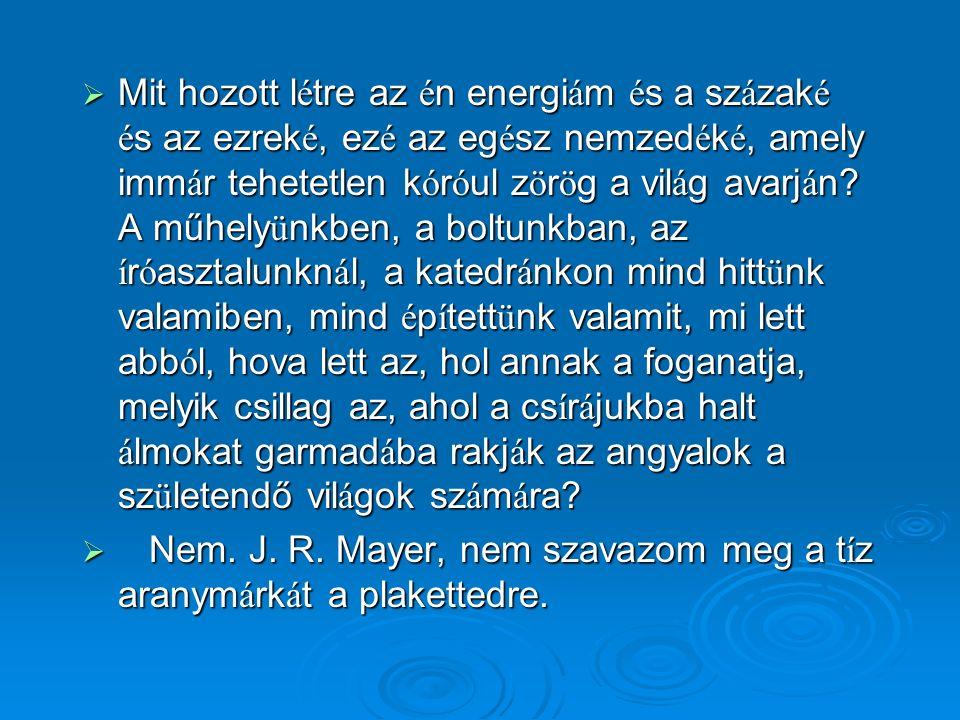 …én nem hiszem az energia megmaradásának elvét. Ha a szíves olvasó fizikatanár, akkor azt fogja erre mondani, hogy szamár vagyok, mert laikus vagyok.