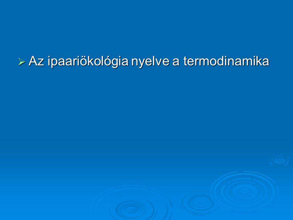  Az ipaariökológia nyelve a termodinamika