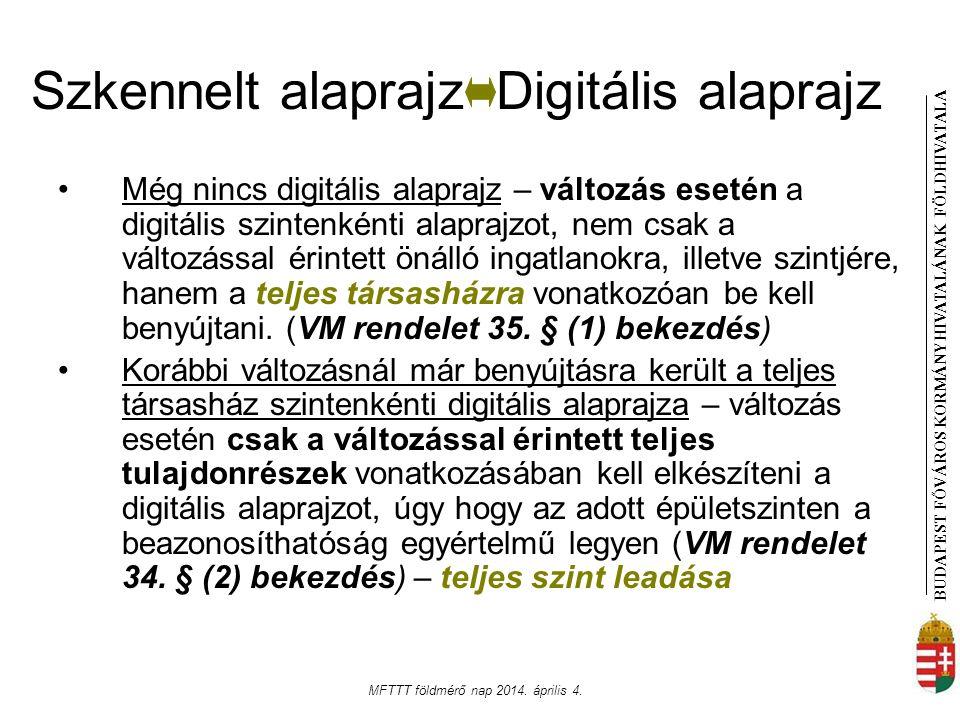 BUDAPEST FŐVÁROS KORMÁNYHIVATALÁNAK FÖLDHIVATAL A MFTTT földmérő nap 2014. április 4. Szkennelt alaprajz Digitális alaprajz Még nincs digitális alapra
