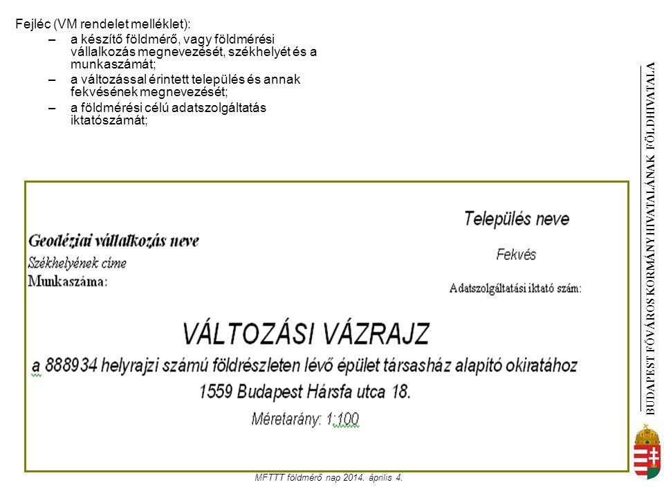 BUDAPEST FŐVÁROS KORMÁNYHIVATALÁNAK FÖLDHIVATAL A MFTTT földmérő nap 2014. április 4. Fejléc (VM rendelet melléklet): –a készítő földmérő, vagy földmé