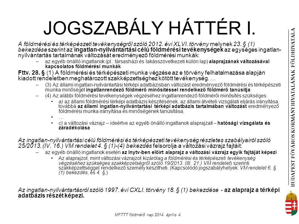 BUDAPEST FŐVÁROS KORMÁNYHIVATALÁNAK FÖLDHIVATAL A MFTTT földmérő nap 2014. április 4. JOGSZABÁLY HÁTTÉR I. A földmérési és térképészeti tevékenységről