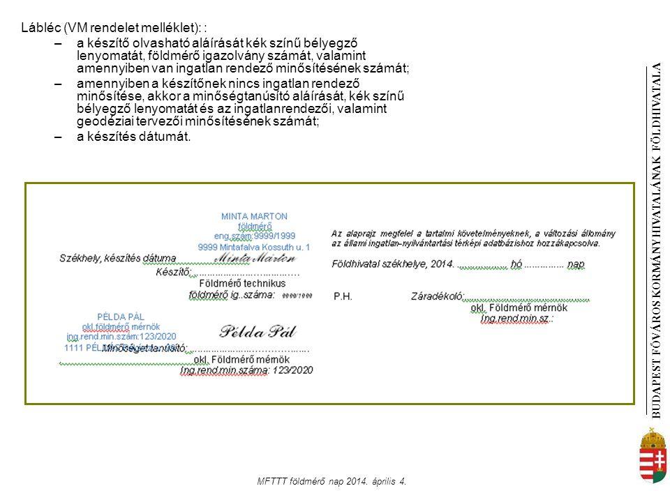 BUDAPEST FŐVÁROS KORMÁNYHIVATALÁNAK FÖLDHIVATAL A MFTTT földmérő nap 2014. április 4. Lábléc (VM rendelet melléklet): : –a készítő olvasható aláírását