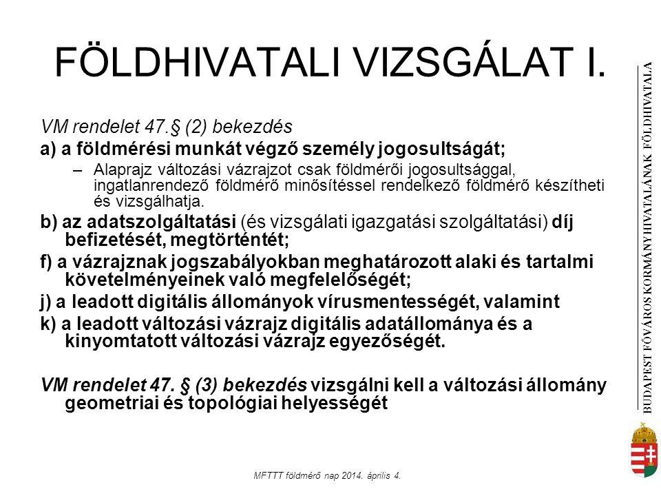 BUDAPEST FŐVÁROS KORMÁNYHIVATALÁNAK FÖLDHIVATAL A MFTTT földmérő nap 2014. április 4. FÖLDHIVATALI VIZSGÁLAT I. VM rendelet 47.§ (2) bekezdés a) a föl