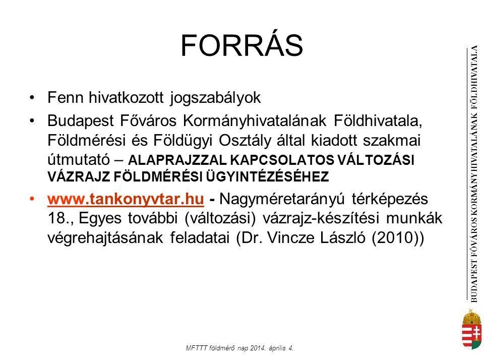 BUDAPEST FŐVÁROS KORMÁNYHIVATALÁNAK FÖLDHIVATAL A MFTTT földmérő nap 2014. április 4. FORRÁS Fenn hivatkozott jogszabályok Budapest Főváros Kormányhiv
