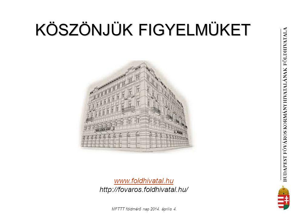 BUDAPEST FŐVÁROS KORMÁNYHIVATALÁNAK FÖLDHIVATAL A MFTTT földmérő nap 2014. április 4. www.foldhivatal.hu http://fovaros.foldhivatal.hu/ KÖSZÖNJÜK FIGY