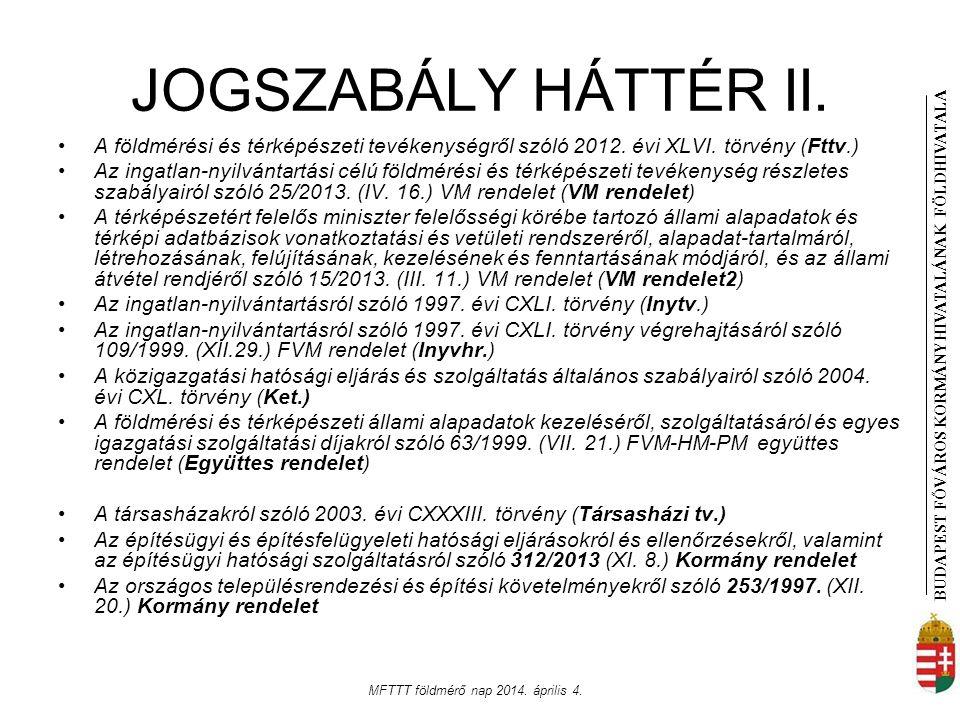 BUDAPEST FŐVÁROS KORMÁNYHIVATALÁNAK FÖLDHIVATAL A MFTTT földmérő nap 2014. április 4. JOGSZABÁLY HÁTTÉR II. A földmérési és térképészeti tevékenységrő