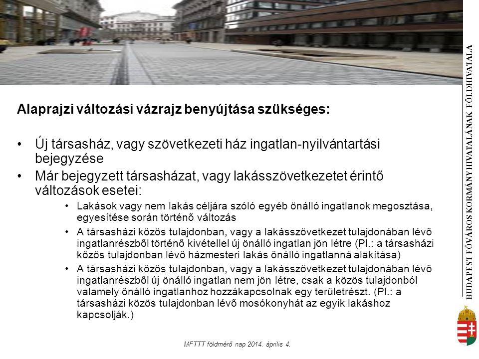 BUDAPEST FŐVÁROS KORMÁNYHIVATALÁNAK FÖLDHIVATAL A MFTTT földmérő nap 2014. április 4. Alaprajzi változási vázrajz benyújtása szükséges: Új társasház,