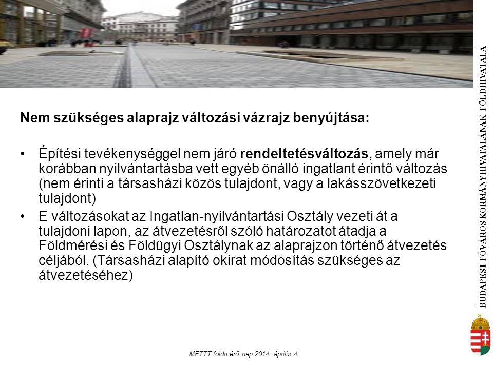 BUDAPEST FŐVÁROS KORMÁNYHIVATALÁNAK FÖLDHIVATAL A MFTTT földmérő nap 2014. április 4. Nem szükséges alaprajz változási vázrajz benyújtása: Építési tev