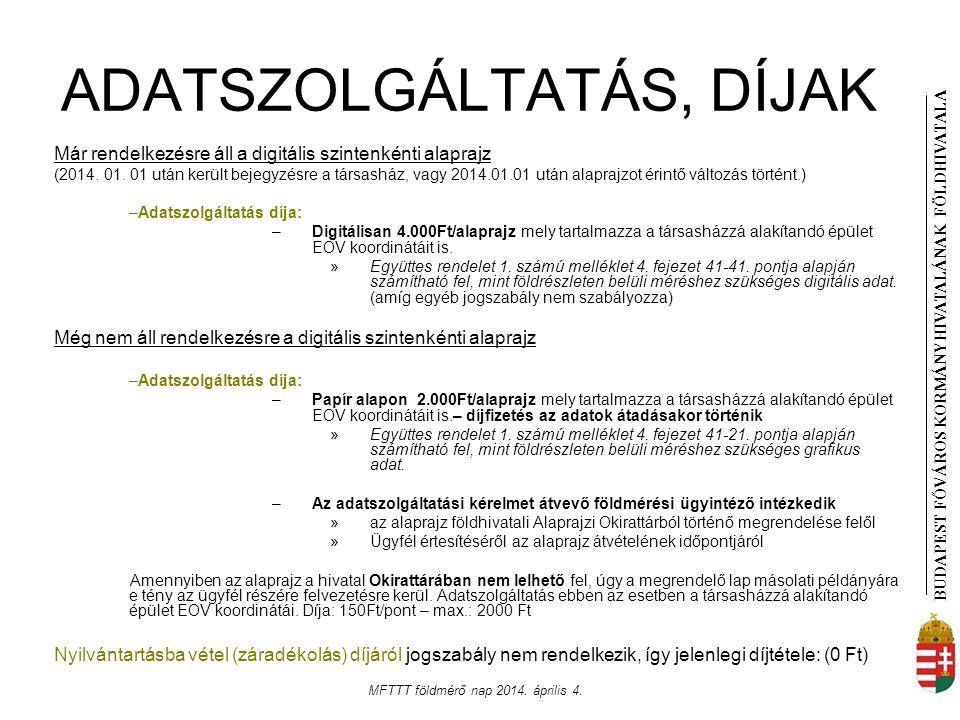 BUDAPEST FŐVÁROS KORMÁNYHIVATALÁNAK FÖLDHIVATAL A MFTTT földmérő nap 2014. április 4. ADATSZOLGÁLTATÁS, DÍJAK Már rendelkezésre áll a digitális szinte