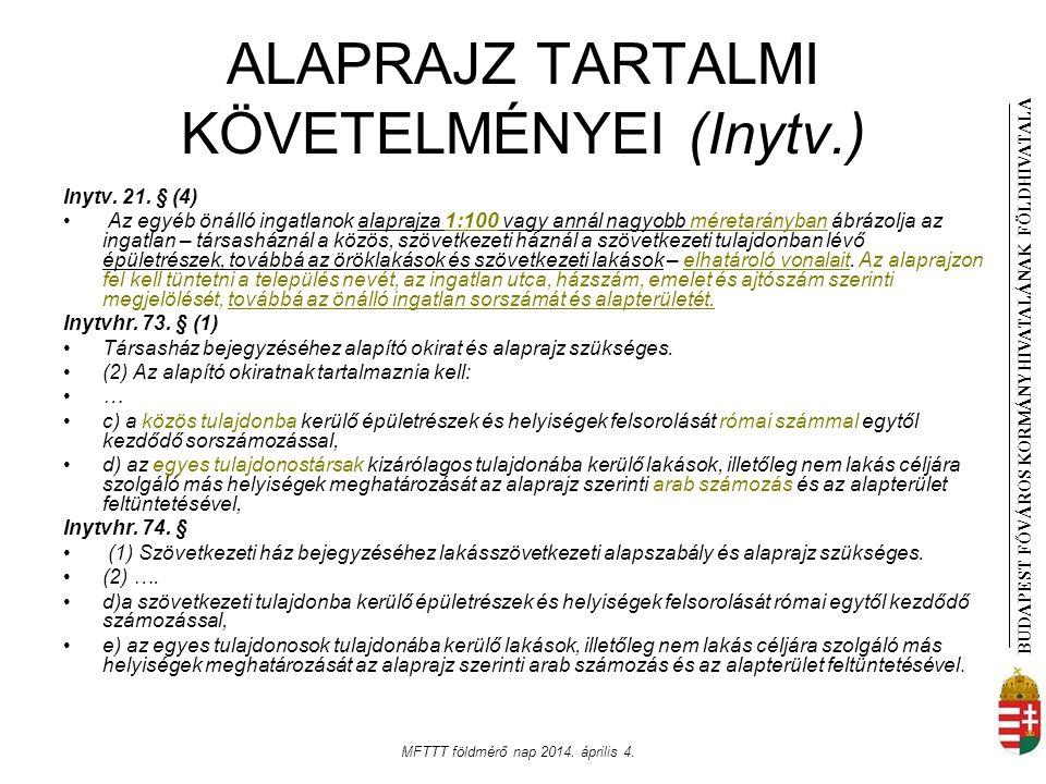 BUDAPEST FŐVÁROS KORMÁNYHIVATALÁNAK FÖLDHIVATAL A MFTTT földmérő nap 2014. április 4. ALAPRAJZ TARTALMI KÖVETELMÉNYEI (Inytv.) Inytv. 21. § (4) Az egy