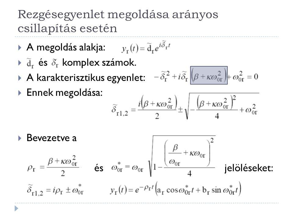 Rezgésegyenlet megoldása arányos csillapítás esetén  A megoldás alakja:  és komplex számok.  A karakterisztikus egyenlet:  Ennek megoldása:  Beve