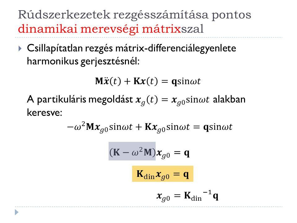 A modálanalízis alkalmazása részleges sajátérték-feladat megoldásával  Az eddigiekben ismertetett megoldásoknál feltételeztük, hogy ismerjük a feladathoz tartozó összes sajátértéket és sajátvektort.