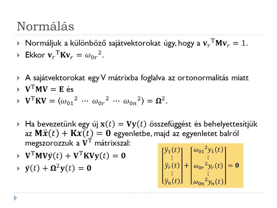 Megoldás Az elmozdulásvektor minden időpillanatban a sajátvektorok egy lineáris kombinációja