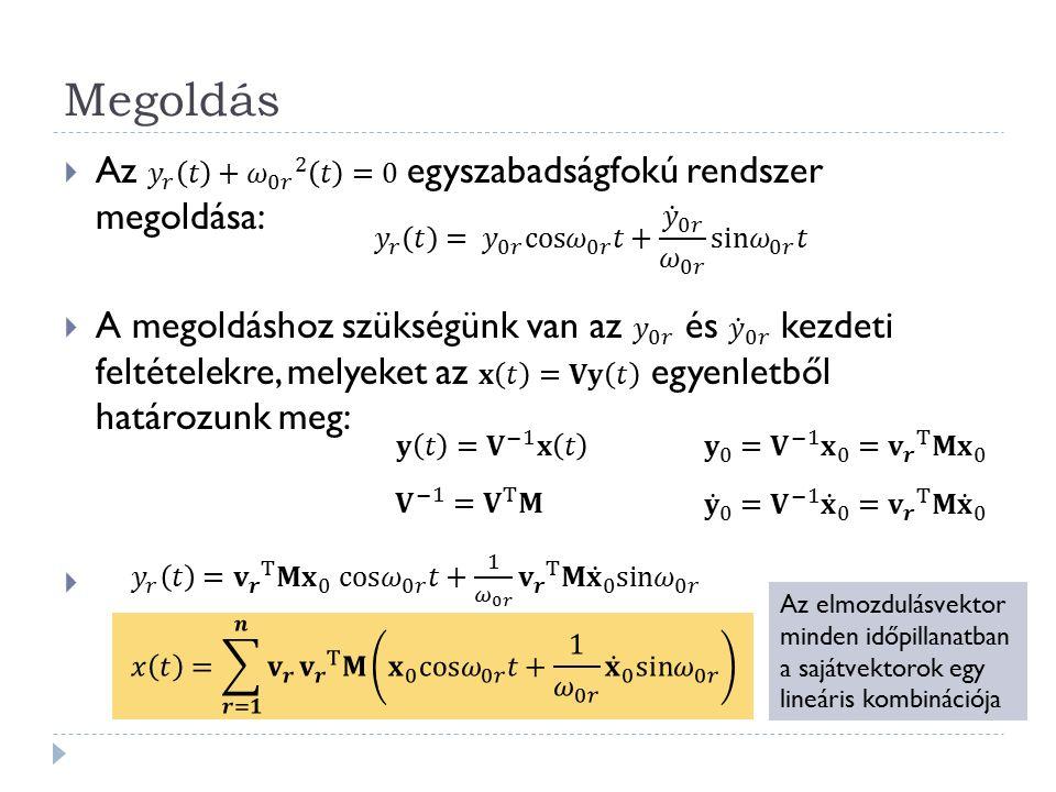 Rezgésegyenlet megoldása arányos csillapítás esetén  Arányos csillapítás: a külső - sebességgel arányos - csillapítás mátrixa a tömegmátrix és a merevségi mátrix lineáris kombinációjaként állítható elő:  Megoldás modálanalízissel:  Az egyszabadságfokú rendszer: E E