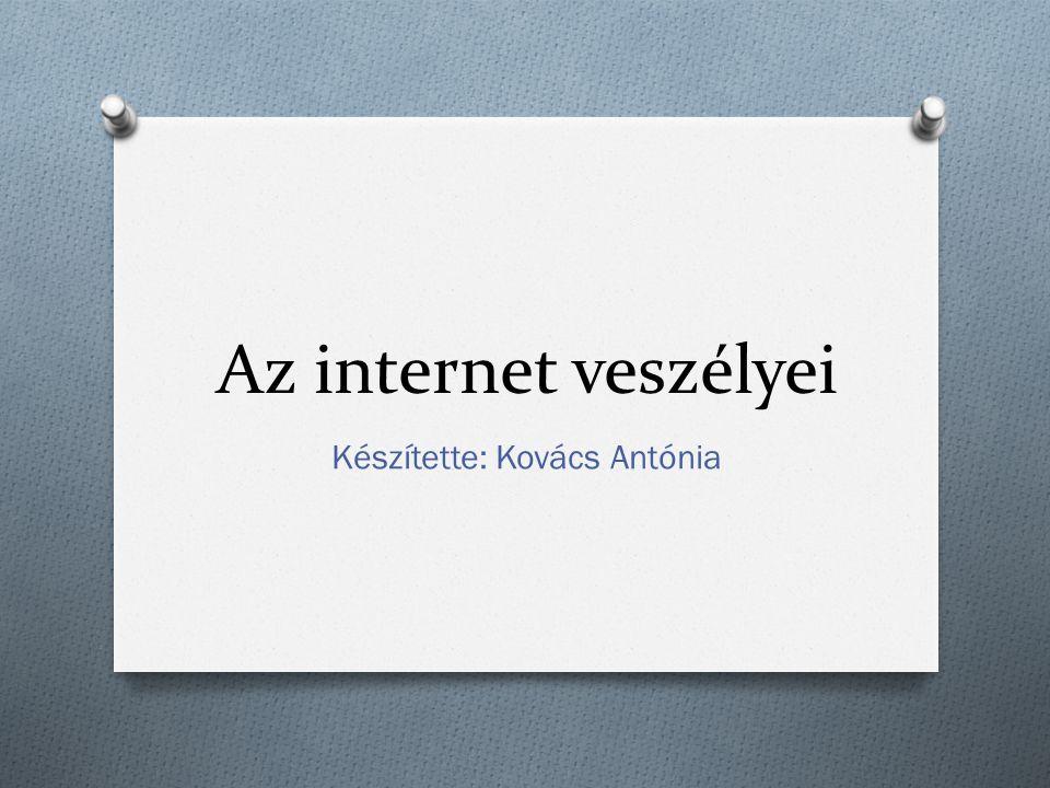 Az internet veszélyei Készítette: Kovács Antónia