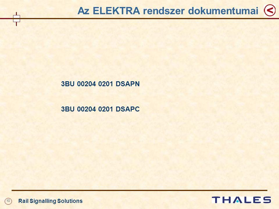 10 Rail Signalling Solutions 3BU 00204 0201 DSAPN 3BU 00204 0201 DSAPC Az ELEKTRA rendszer dokumentumai
