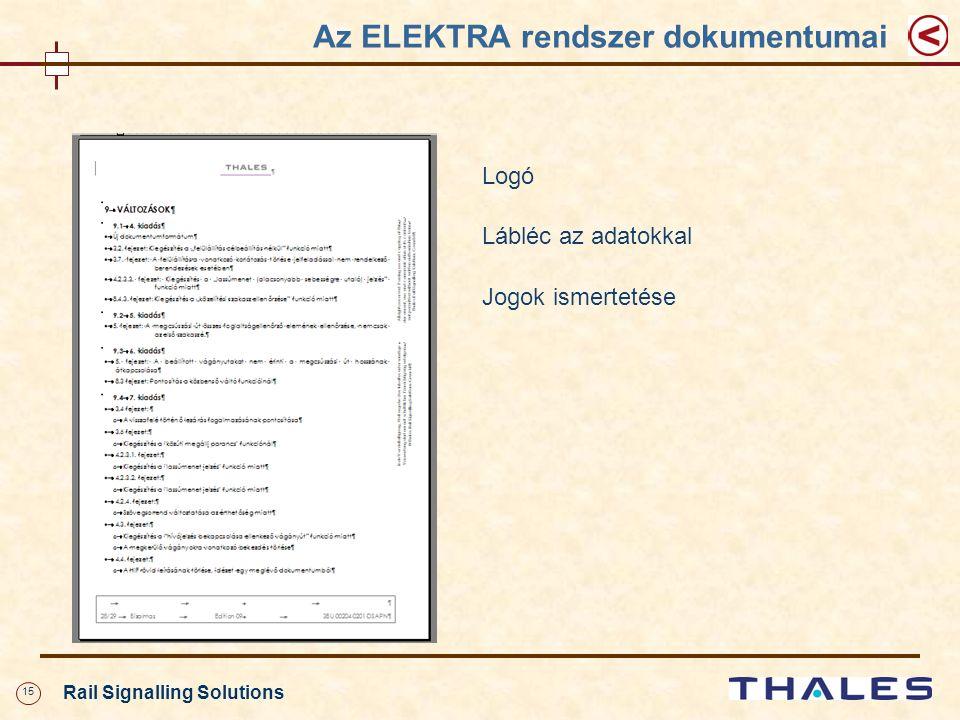 15 Rail Signalling Solutions Az ELEKTRA rendszer dokumentumai Logó Lábléc az adatokkal Jogok ismertetése