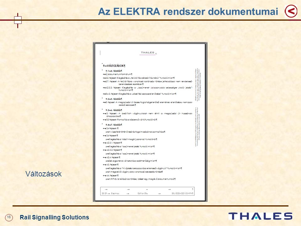 16 Rail Signalling Solutions Az ELEKTRA rendszer dokumentumai Változások