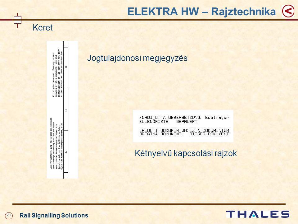 20 Rail Signalling Solutions ELEKTRA HW – Rajztechnika Keret Jogtulajdonosi megjegyzés Kétnyelvű kapcsolási rajzok