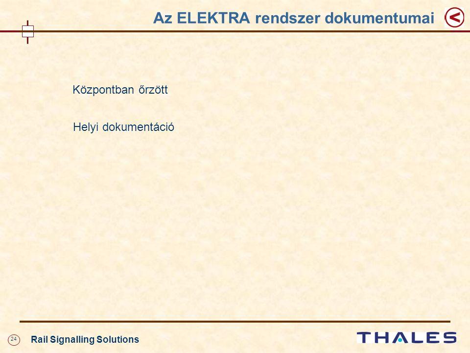 24 Rail Signalling Solutions Az ELEKTRA rendszer dokumentumai Központban őrzött Helyi dokumentáció