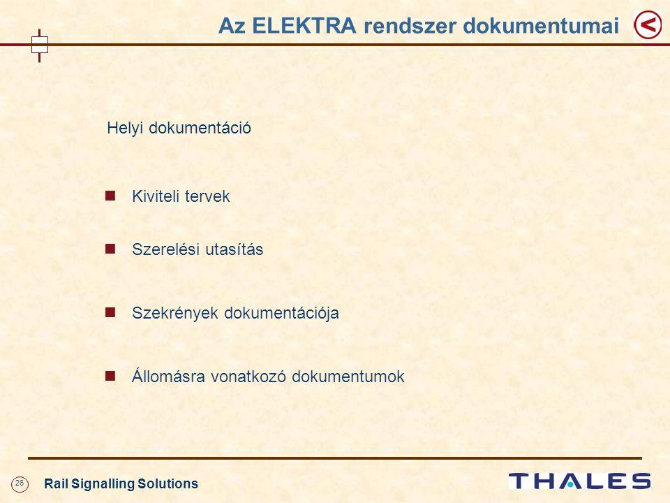 26 Rail Signalling Solutions Az ELEKTRA rendszer dokumentumai Helyi dokumentáció Kiviteli tervek Szerelési utasítás Szekrények dokumentációja Állomásra vonatkozó dokumentumok