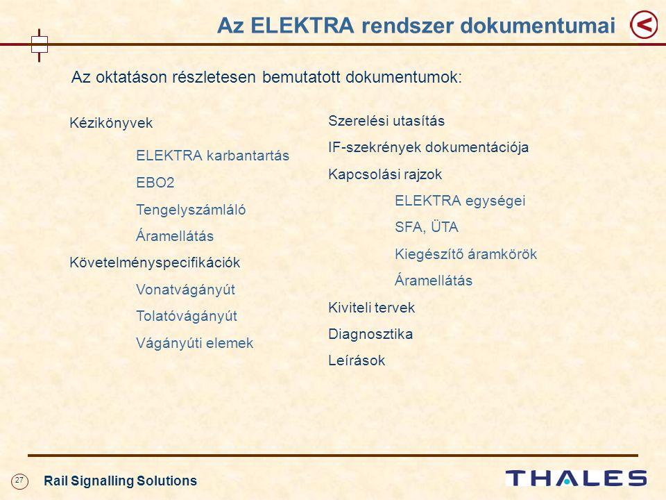 27 Rail Signalling Solutions Az ELEKTRA rendszer dokumentumai Az oktatáson részletesen bemutatott dokumentumok: Kézikönyvek ELEKTRA karbantartás EBO2 Tengelyszámláló Áramellátás Követelményspecifikációk Vonatvágányút Tolatóvágányút Vágányúti elemek Szerelési utasítás IF-szekrények dokumentációja Kapcsolási rajzok ELEKTRA egységei SFA, ÜTA Kiegészítő áramkörök Áramellátás Kiviteli tervek Diagnosztika Leírások