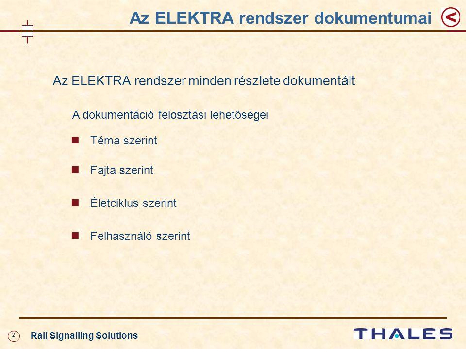 2 Rail Signalling Solutions Az ELEKTRA rendszer minden részlete dokumentált A dokumentáció felosztási lehetőségei Téma szerint Fajta szerint Életciklus szerint Felhasználó szerint Az ELEKTRA rendszer dokumentumai