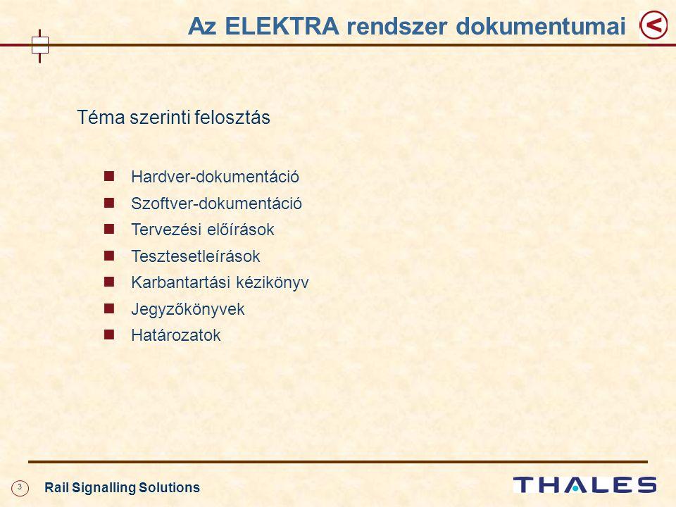 3 Rail Signalling Solutions Téma szerinti felosztás Hardver-dokumentáció Szoftver-dokumentáció Tervezési előírások Tesztesetleírások Karbantartási kézikönyv Jegyzőkönyvek Határozatok Az ELEKTRA rendszer dokumentumai