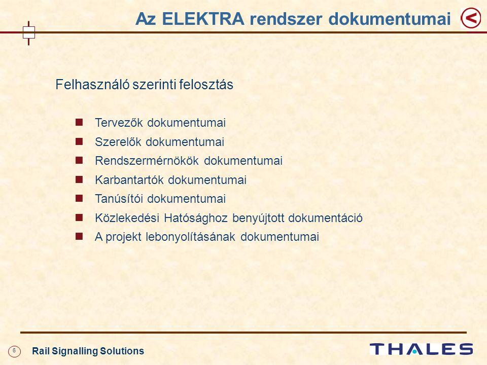 6 Rail Signalling Solutions Felhasználó szerinti felosztás Tervezők dokumentumai Szerelők dokumentumai Rendszermérnökök dokumentumai Karbantartók dokumentumai Tanúsítói dokumentumai Közlekedési Hatósághoz benyújtott dokumentáció A projekt lebonyolításának dokumentumai Az ELEKTRA rendszer dokumentumai