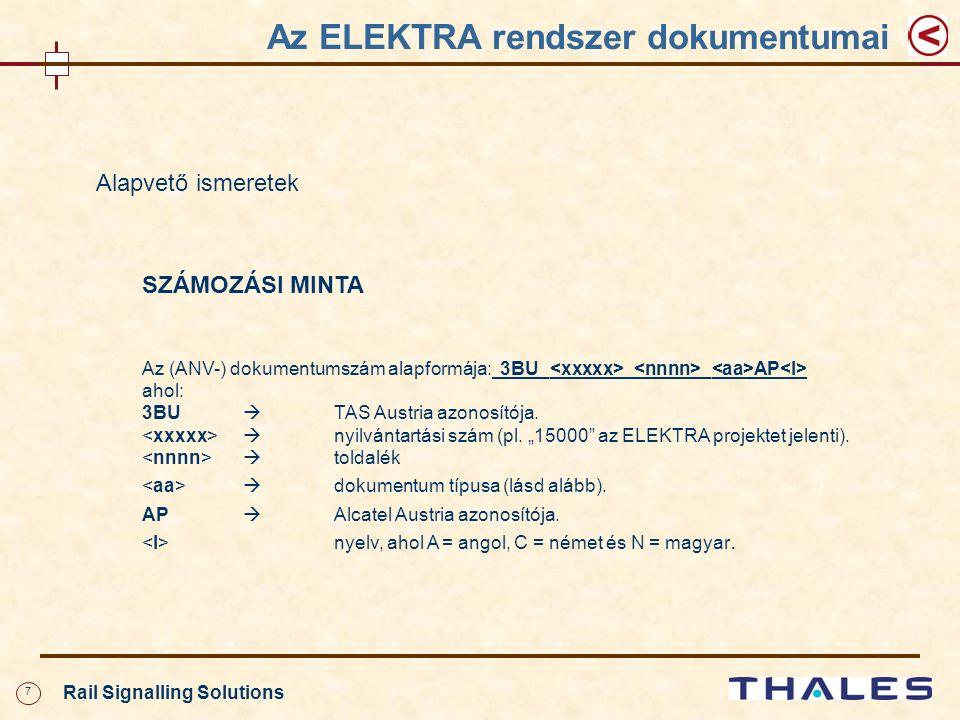 7 Rail Signalling Solutions Alapvető ismeretek SZÁMOZÁSI MINTA Az (ANV-) dokumentumszám alapformája: 3BU_ _ _ AP ahol: 3BU  TAS Austria azonosítója.