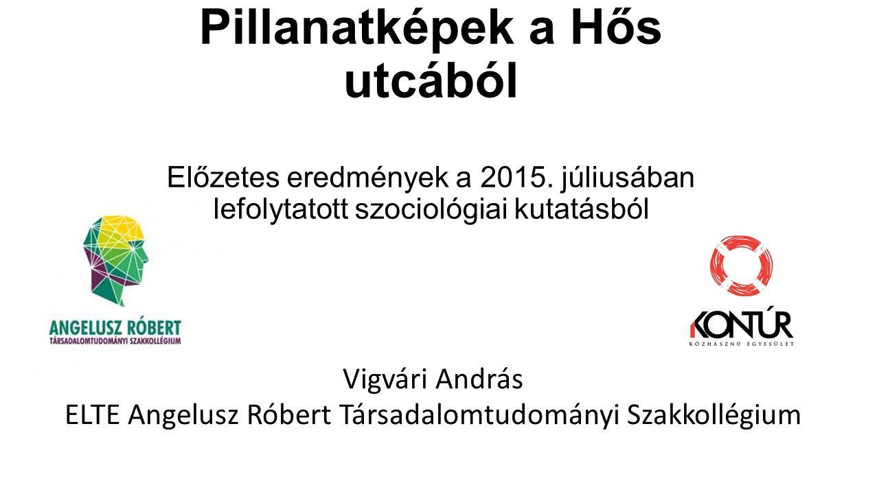 Pillanatképek a Hős utcából Előzetes eredmények a 2015. júliusában lefolytatott szociológiai kutatásból Vigvári András ELTE Angelusz Róbert Társadalom