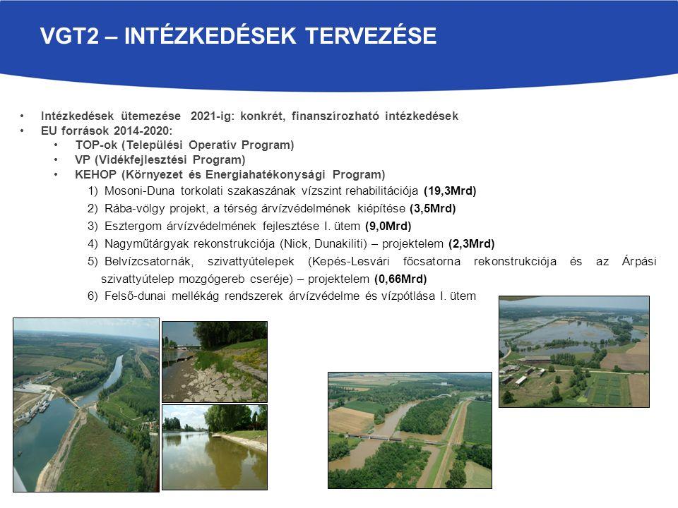 VGT2 – INTÉZKEDÉSEK TERVEZÉSE Intézkedések ütemezése 2021-ig: konkrét, finanszírozható intézkedések EU források 2014-2020: TOP-ok (Települési Operatív Program) VP (Vidékfejlesztési Program) KEHOP (Környezet és Energiahatékonysági Program) 1) Mosoni-Duna torkolati szakaszának vízszint rehabilitációja (19,3Mrd) 2) Rába-völgy projekt, a térség árvízvédelmének kiépítése (3,5Mrd) 3) Esztergom árvízvédelmének fejlesztése I.