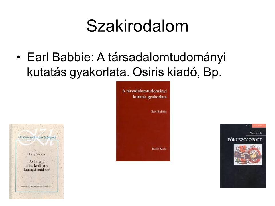 Szakirodalom Earl Babbie: A társadalomtudományi kutatás gyakorlata. Osiris kiadó, Bp.