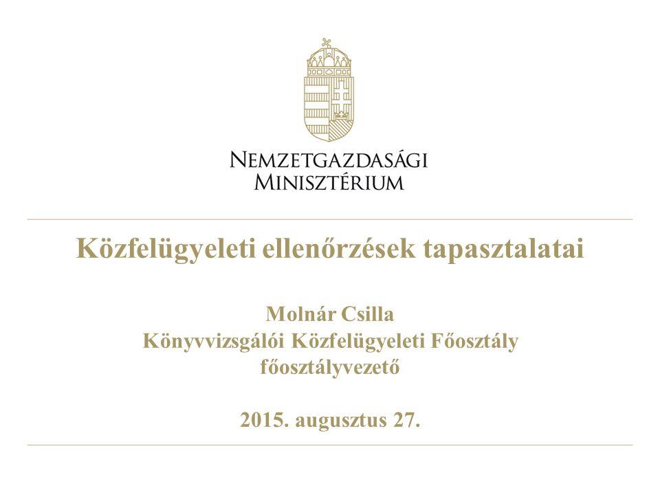 Közfelügyeleti ellenőrzések tapasztalatai Molnár Csilla Könyvvizsgálói Közfelügyeleti Főosztály főosztályvezető 2015. augusztus 27.