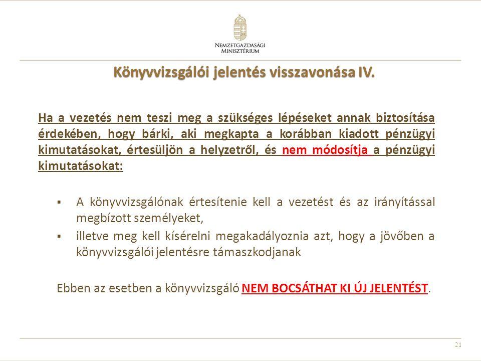 21 Könyvvizsgálói jelentés visszavonása IV. Ha a vezetés nem teszi meg a szükséges lépéseket annak biztosítása érdekében, hogy bárki, aki megkapta a k
