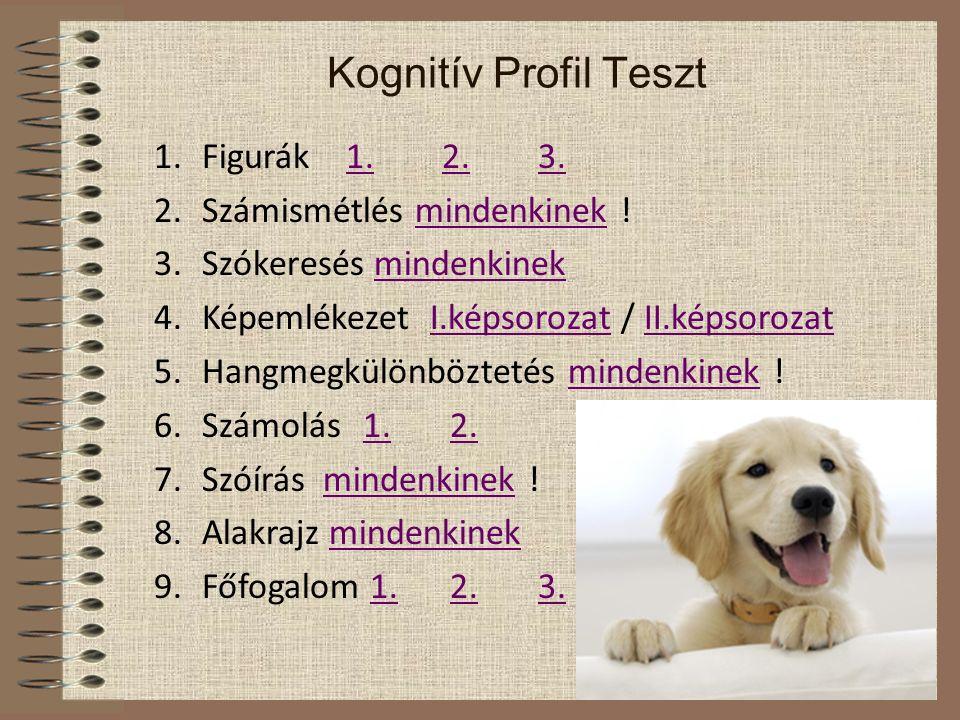 Kognitív Profil Teszt 1.Figurák 1.2.3.1.2.3. 2.Számismétlés mindenkinek !mindenkinek 3.Szókeresés mindenkinekmindenkinek 4.Képemlékezet I.képsorozat /