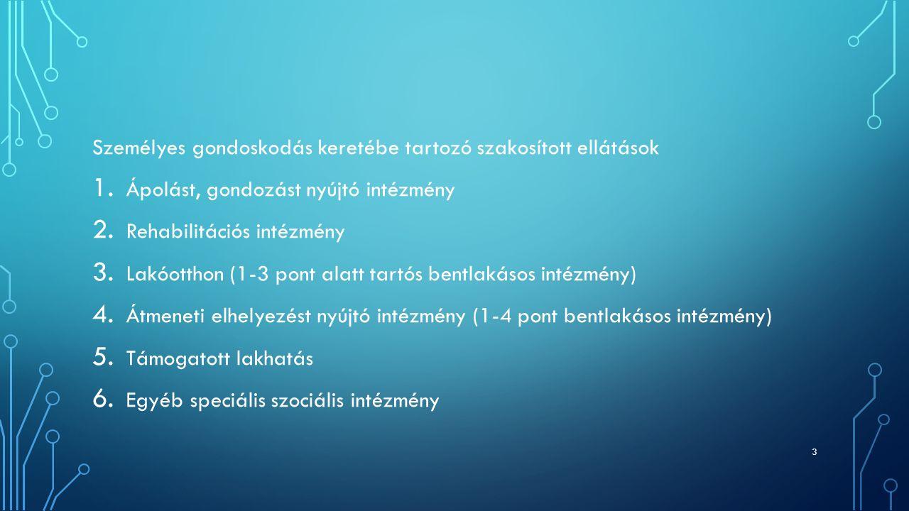 Személyes gondoskodás keretébe tartozó szakosított ellátások 1. Ápolást, gondozást nyújtó intézmény 2. Rehabilitációs intézmény 3. Lakóotthon (1-3 pon