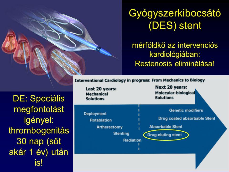 Thury Attila, 2009 Gyógyszerkibocsátó (DES) stent mérföldkő az intervenciós kardiológiában: Restenosis eliminálása! DE: Speciális megfontolást igényel