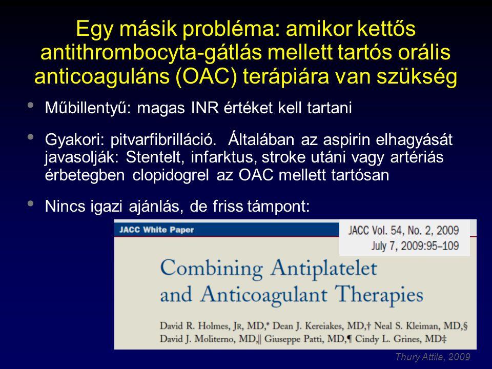 Thury Attila, 2009 Egy másik probléma: amikor kettős antithrombocyta-gátlás mellett tartós orális anticoaguláns (OAC) terápiára van szükség Műbillenty