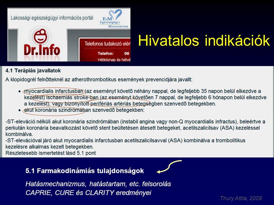 Thury Attila, 2009 Hivatalos indikációk 5.1 Farmakodinámiás tulajdonságok Hatásmechanizmus, hatástartam, etc. felsorolás CAPRIE, CURE és CLARITY eredm